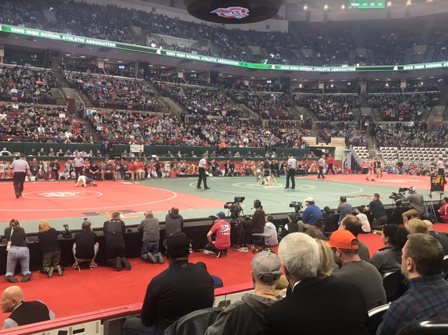 Junior Najee Lockett competes in the OHSAA state wrestling finals on Saturday at Jerome Schottenstein Center at The Ohio State University.