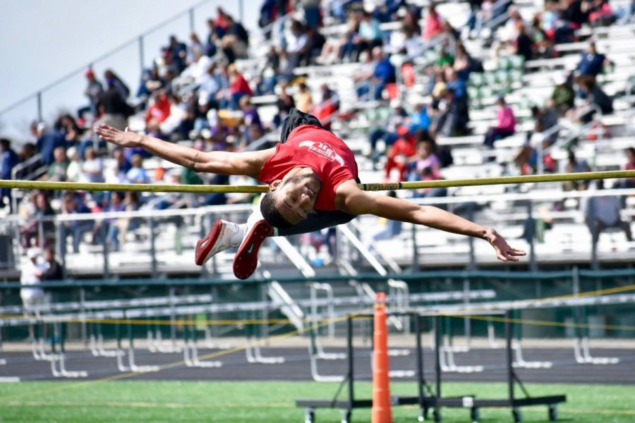 Junior Jaivon Harrison high jumps  at the GlenOak Second Sole Eagle Elite Invitational this past Saturday.