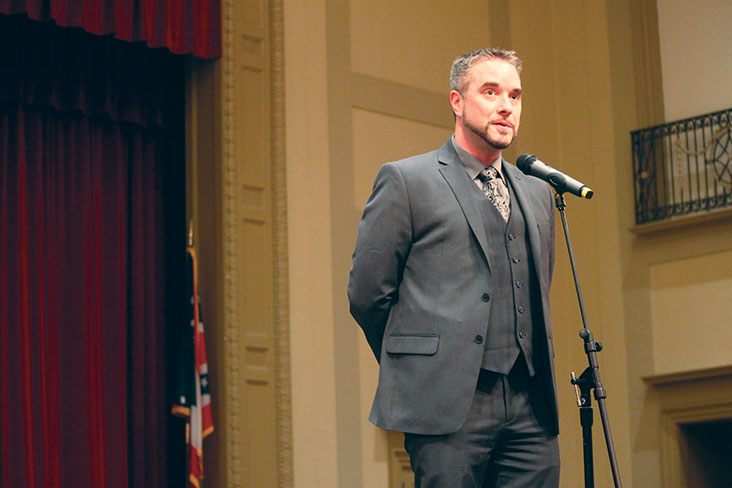 Jonathan Kuehnle, then an applicant for high school principal, addresses the audience at a March 7, 2016 community meeting. Photo by The Shakerite.