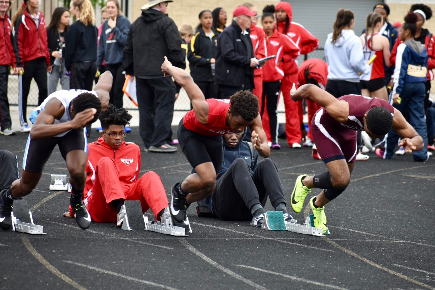 Sophomore Tivaughn Robinson runs the 100 meter dash at the OHSAA Division 1 district meet at Mayfield High School. He finished second and advanced to regionals.