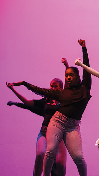 Junior Olivia McDowell performs a choreographed dance for Sankofa Feb. 23. She is in Fashion Club, competes as a varsity cheerleader and is a dance leader for Sankofa.