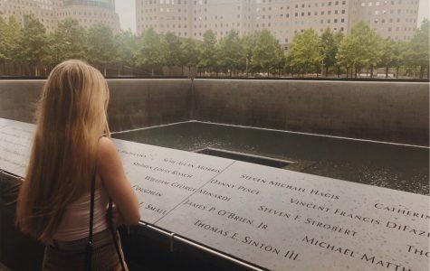 Senior Caleigh Leiken looks at the 9/11 memorial in New York City.