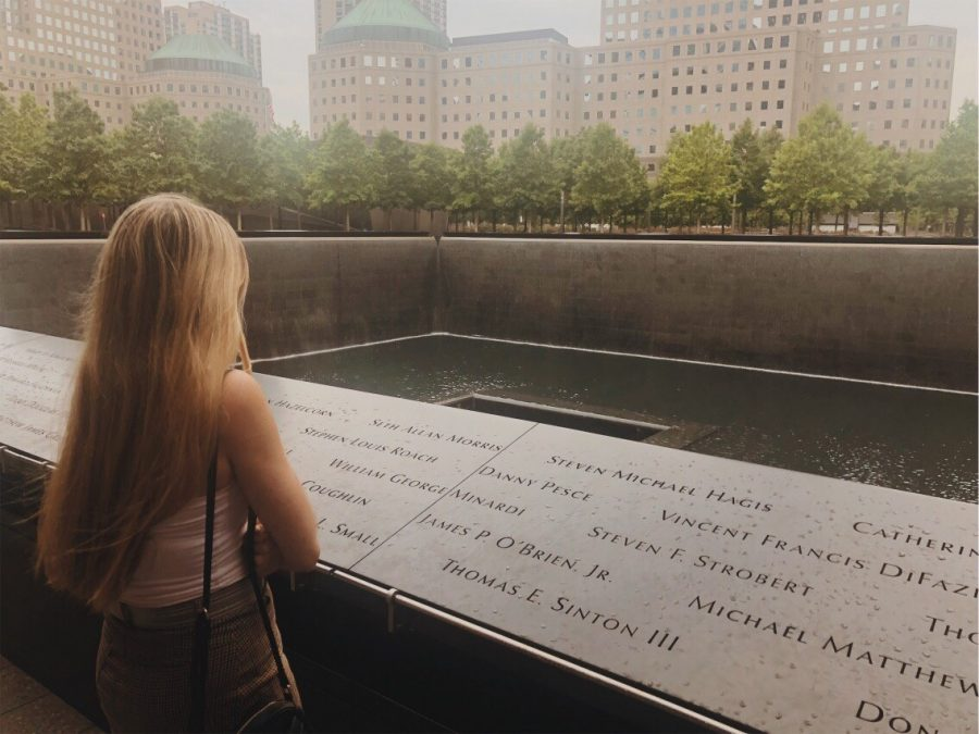 Senior Caleigh Leiken looks at the 9/11 memorial in New York City.