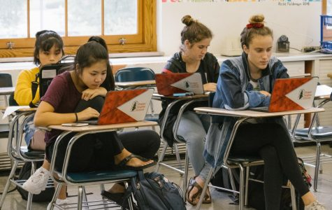 Students use their school administered Chromebooks to do classwork..
