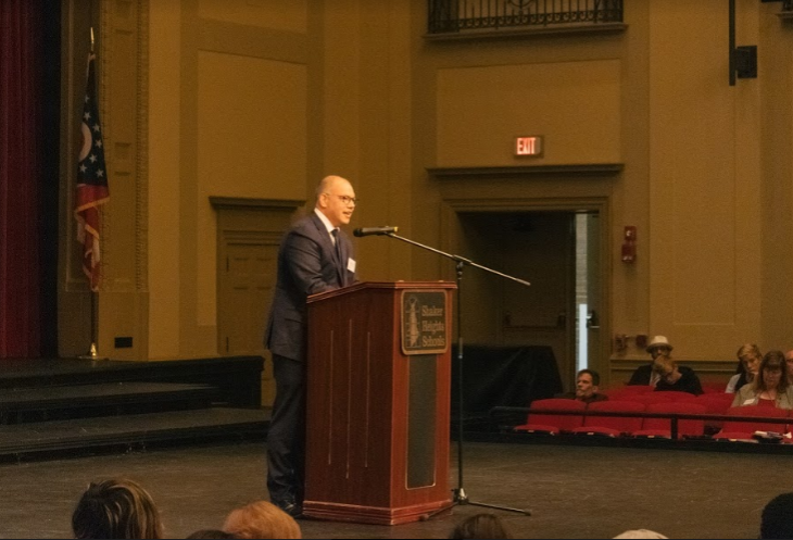 Inductee Joshua Levy speaks to students at the hall of fame assembly.