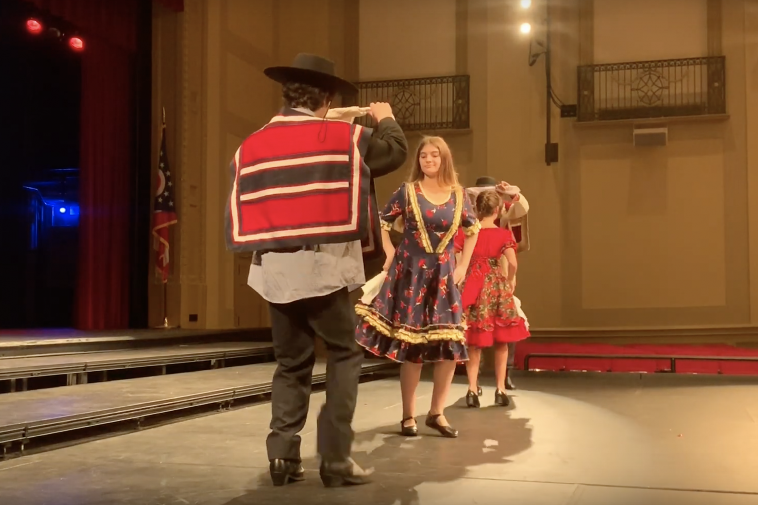 Chileans present their traditional dance, the Cueca, to students at the welcome assembly.