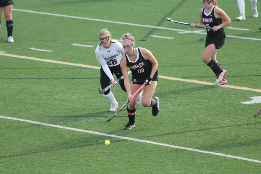 Senior Lora Clarke plays in the OHSAA State Championship Field Hockey Game against Columbus Academy.