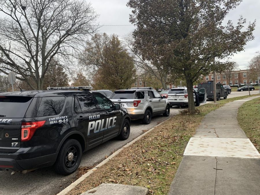 Two Shaker police cars, one Euclid police car and a Shaker BearCat vehicle were stationed near the high school during dismissal.