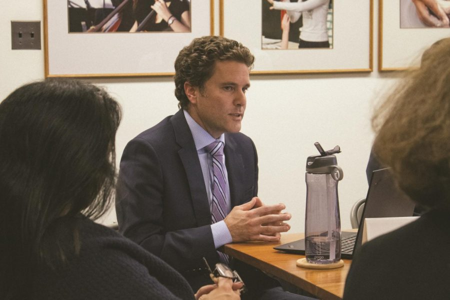 Glasner addresses the Board Trustees of the Shaker Schools Foundation Oct. 17.