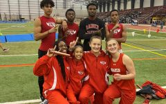 The womens and mens 4x200 meter relays pose after they ran state-leading times at Friday's meet.