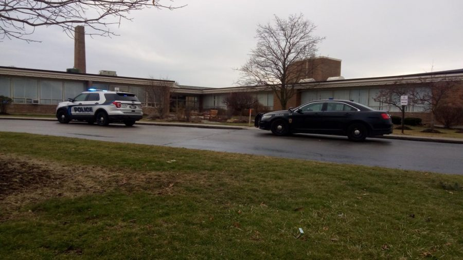 Police cars at the middle school in response to the lockdown