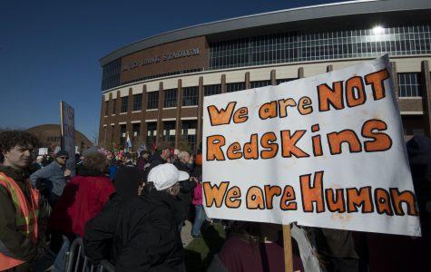 Protesters marched through Minneapolis to TCF Stadium, where the Minnesota Vikings were playing the Washington Redskins Nov. 2, 2014. The protesters called for the Washington team to abandon the name