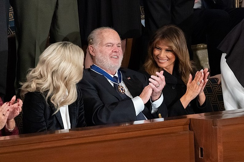 First+Lady+Melania+Trump+applauds+Rush+Limbaugh+after+presenting+him+with+the+Presidential+Medal+of+Freedom+during+President+Donald+J.+Trump%E2%80%99s+State+of+the+Union+address.