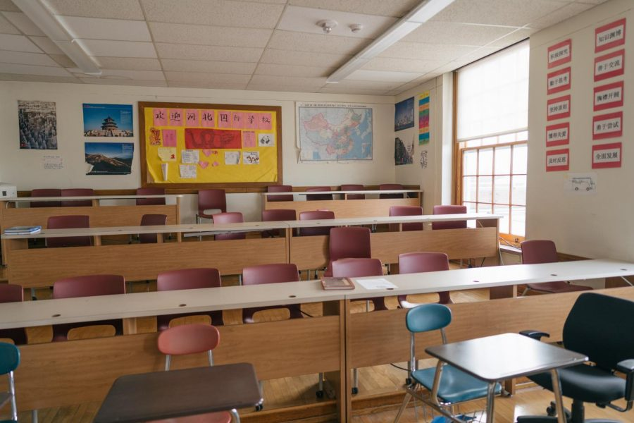 The Chinese classroom at the high school.