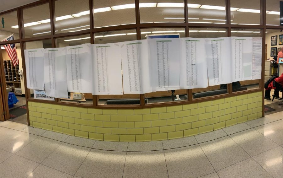 Freshman and sophomore students' testing locations are posted in the main hallway.