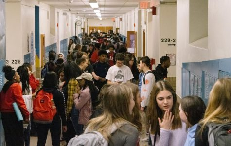 In the second floor main hallway after 10th period, students react to Gov. DeWine's decision to close Ohio schools for three weeks due to COVID-19.
