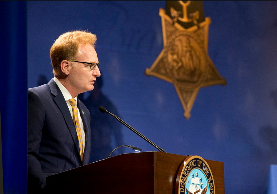Thomas Modly delivers remarks during a Medal of Honor recipient's induction into the Hall of Heroes during a ceremony at the Pentagon Auditorium on May 30, 2018