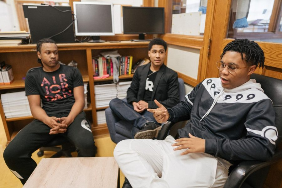 """MAC Scholars Evan Ward, Dalton Mosely and Rudy Collins discuss how a teacher's race affects students. """"One of the main things that would be able to motivate aspiring black students would be that there are people that look like us,"""" Mosely said."""