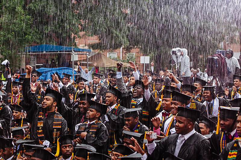 2013 Morehouse College graduates celebrate former president Barack Obama's commencement speech.