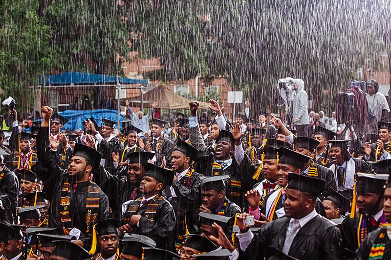 2013 Morehouse College graduates celebrate former president Barack Obama's commencement speech.