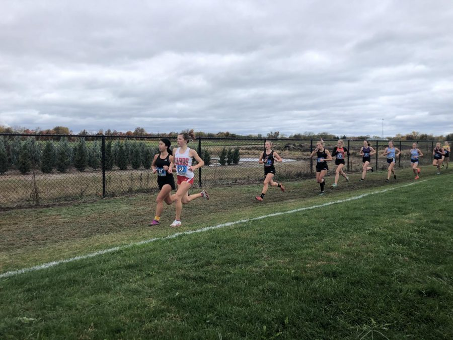 Junior Mia Compton-Engle leads the pack at the District Championship at Madison.