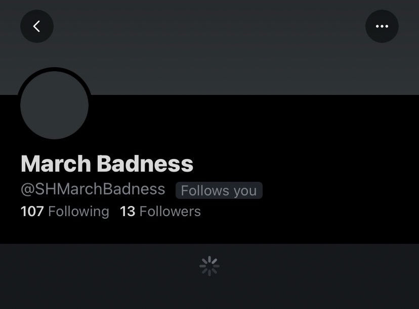 The March Badness twitter handle previous to when it was taken down.