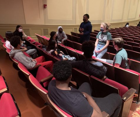 Students discuss the verdict of the Chauvin trial last night.